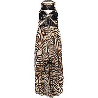 Brown print Pacha embellished maxi dress