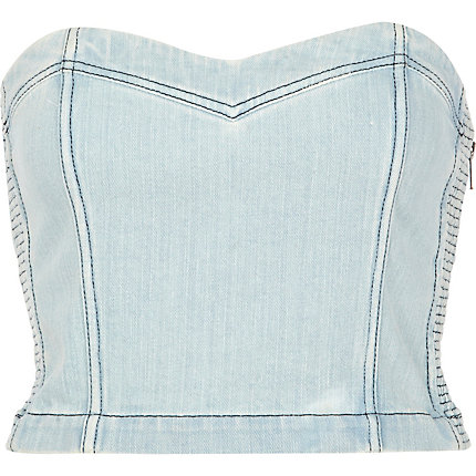 Light wash denim bralet