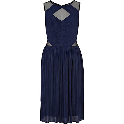 Navy cut out pleated lace midi prom dress