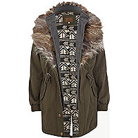 Khaki faux fur lined hooded parka jacket