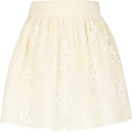 Cream floral organza mini skirt