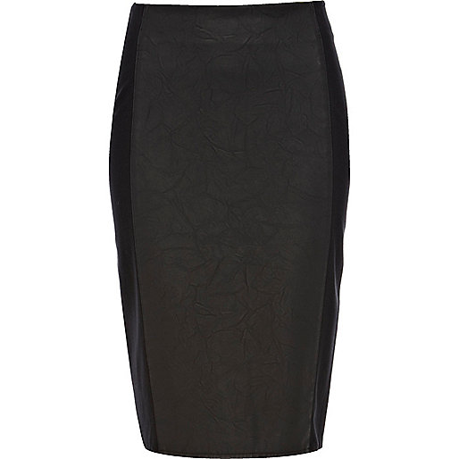 Black leather and ponte panelled pencil skirt