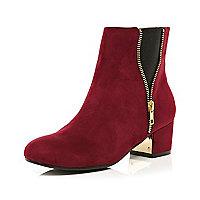 Dark red zip side boots