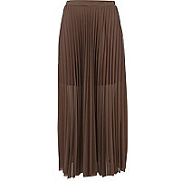 Light brown mesh pleated maxi skirt