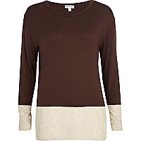 Brown colour block top