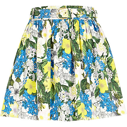 Blue floral print mini skater skirt