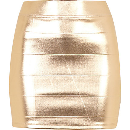 Gold foil mini skirt