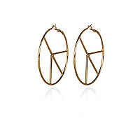 Gold tone peace sign hoop earrings