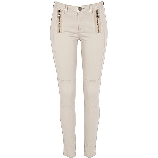 Light beige zip skinny trousers