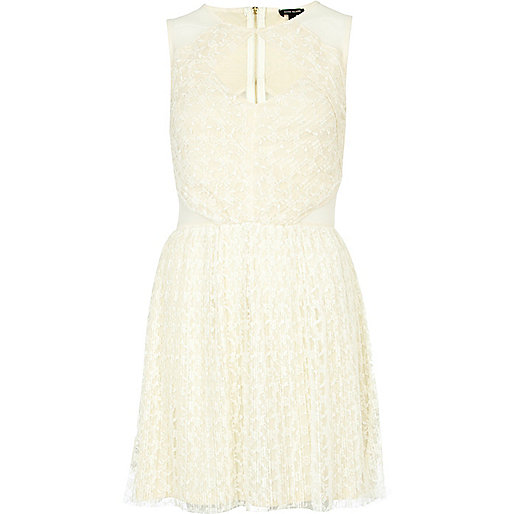 Cream cut out mesh prom dress