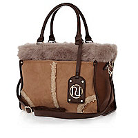 Brown faux fur mix tote bag