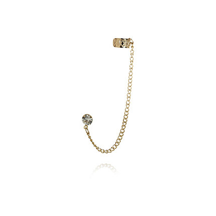 Gold tone diamante chain ear cuff