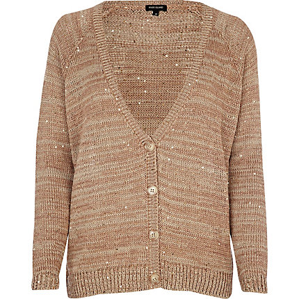 Dark beige sequin cardigan