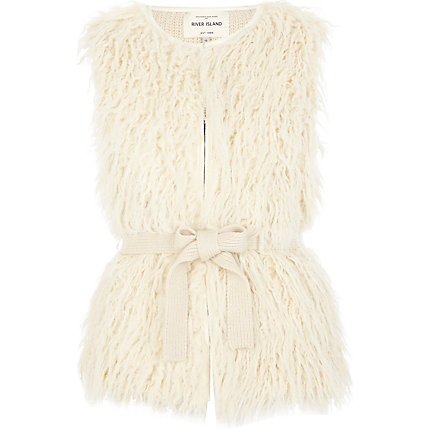 Cream sleeveless mongolian fur gilet