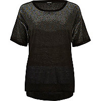 Black ombre metallic t-shirt
