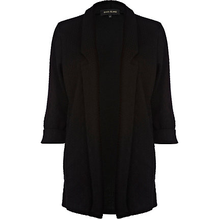 Black jersey cable blazer