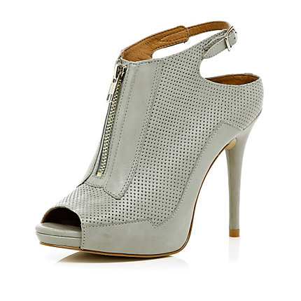 Light grey zip front peep toe heels