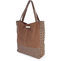 Light brown stud suede tote