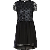 Black 2 in 1 dip hem dress