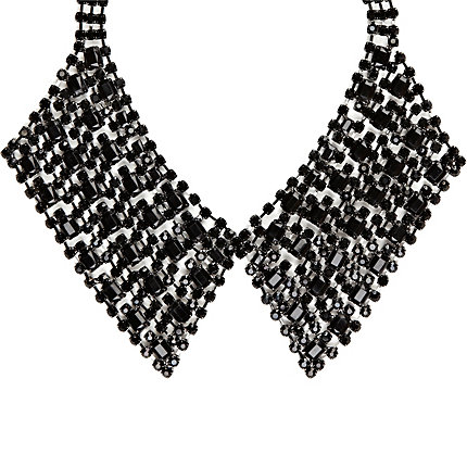 Black diamante pointed collar necklace