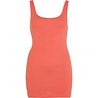 Dark coral scoop neck vest