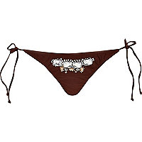 Dark brown embellished bikini briefs