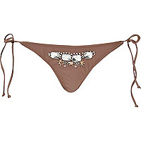 Light brown embellished bikini briefs