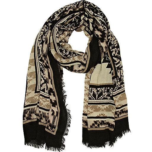 Beige navajo print scarf