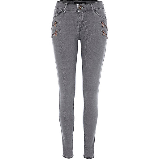 Grey snakeskin print Ellys super skinny jeans