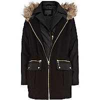 Black double layer parka