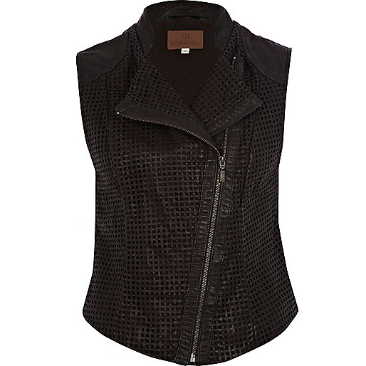 Brown perforated leather gilet