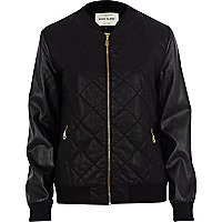 Black leather look snake bomber jacket