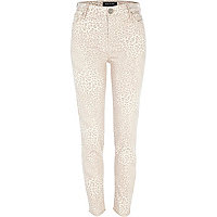 Beige leopard print Lana high waisted jeans