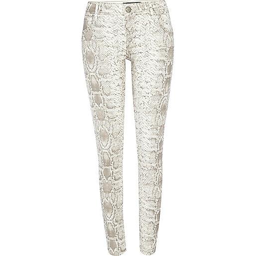 White snake print Olive superskinny jeans