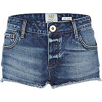 Mid wash denim super short hotpants