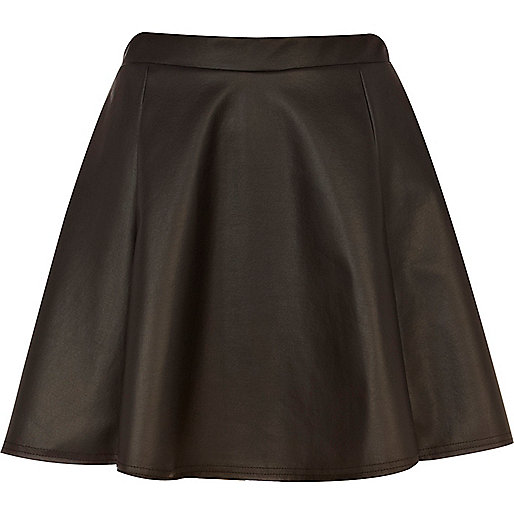 Black coated mini skater skirt