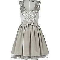 Grey sequin midi prom dress
