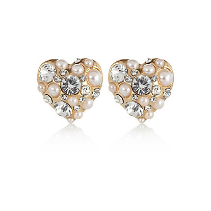 Gold tone pearl heart stud earrings