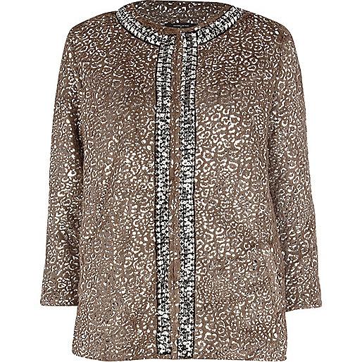 Beige foil leopard print faux fur jacket