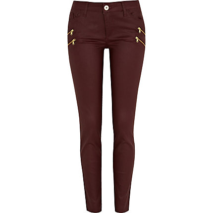 Dark red ellys coated zip super skinny jeans