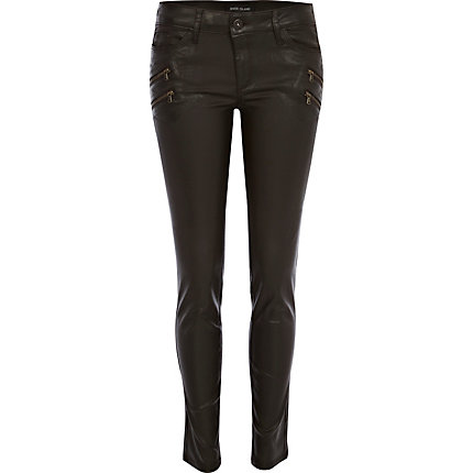 Dark brown Ellys coated super skinny jeans