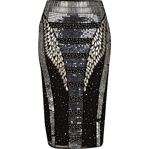 Black futuristic sequin pencil skirt