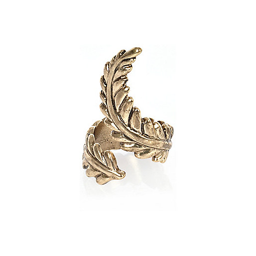 Gold tone twisted leaf ring