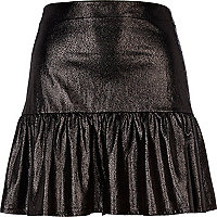 Black wet look peplum skirt