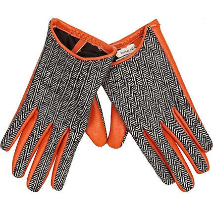 Orange leather look grey tweed gloves