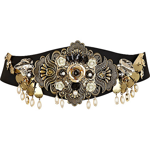 Black baroque embellished waist belt