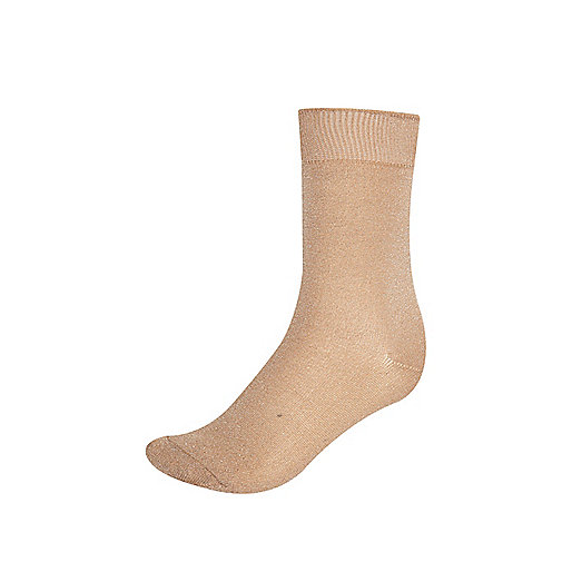 Light beige lurex ankle socks