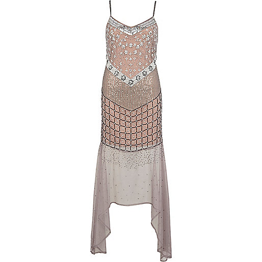 Dusty pink and grey fish tail maxi dress