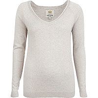 Grey v neck fine knit jumper