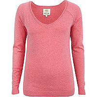 Pink v neck fine knit jumper